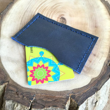 Blue Leather Card Case,Leather Card Holder,Minimalist Card Case,Boho Wallet,Leather Wallet,Leather Case,Money Clip,Leather Pouch