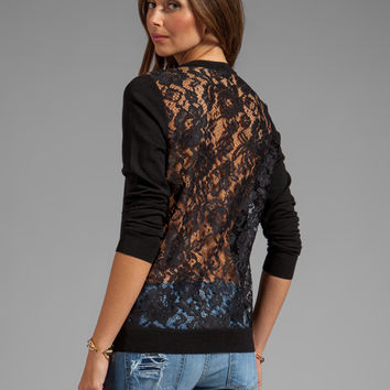 Theory Jaidyn LC Sweater with Lace Back in Black