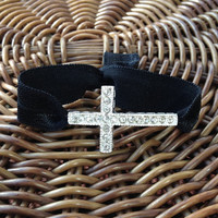 Silver Rhinestone Cross Elastic Hair Ties (and Bracelets)