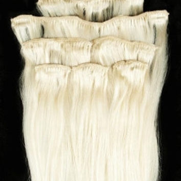 26 inches 7pcs Clip In Human Hair Extensions 60 White Blonde