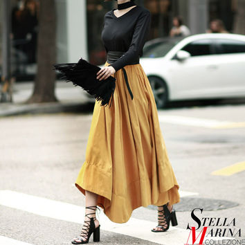 New European Women Spring Black Yellow Long Skirt Elastic Waist A Line Elegant Fashion Design Mid Calf Length Girls Style 2234