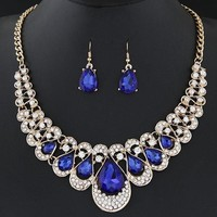 Jewelry Sets For Wo Fine African Beads Gold Plated Bridal Crystal Pendants Necklace Earrings Set Wedding Jewelry Collier