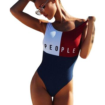 2017 New Patchwork Thong One Piece Swimsuit Sexy Halter Fused Swimwear Female Women Brazilian Bather Monokini Beachwear