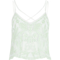 River Island Womens Mint green embroidered cami