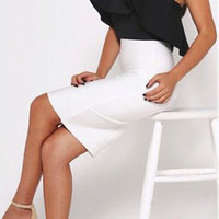 Black Strapless Ruffle Top And White High Waist Pencil Skirt