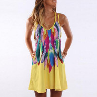 Feather Print Strap Dress