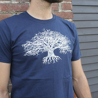 LARGE Forgiving Tree T Shirt, Blue, Mens, t-shirt, Eco-Friendly, Up-cycled, Recycled, Original Artwork