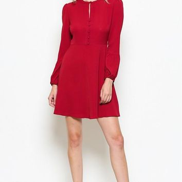 Front button with keyhole Puff Sleeve Dress