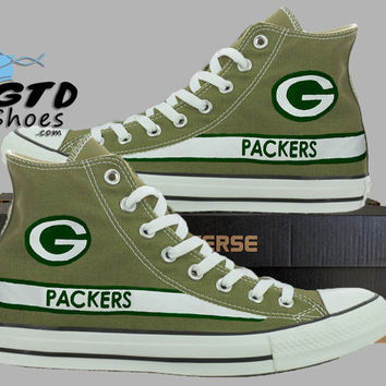 Hand Painted Converse Hi. Green Bay Packers. Football. Superbowl. Handpainted shoes. Cactus