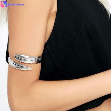 Metal Feathers Bracelet Fashion Vintage Metal Armbands Cosplay Costume Cuff