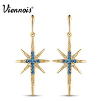 Viennois New Fashion Jewelry Vintage Star Long Drop Earrings for Women Blue Cross Coffee Gold Plated Dangle Earring Female