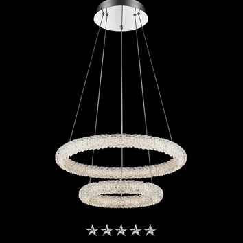 Dual Frosted Ring Crystal Chandelier