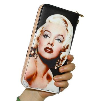 Women Wallets Lady Handbags Long Moneybags Marilyn Monroe Pattern Zipper Coin Purse Cards Holder Clutch Woman Wallet Burse Bags