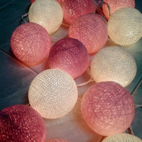 20 Pink-White Color Cotton Ball string light for home decorations