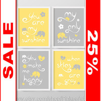 SALE yellow grey you are my sunshine baby decor, my sunshine nursery art, nursery wall art elephant, kids quote song sunshine kids art print