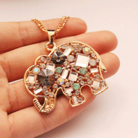 Crystal And Gem Elephant Fashion Necklace