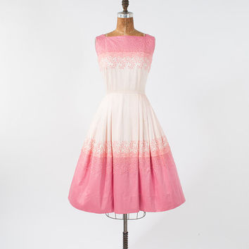 1950's Pink Ombre Embroidered Dress Vintage Wide Skirt - Pink Party Dress