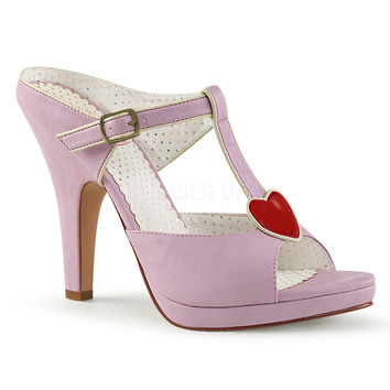 Pin Up Couture Siren Platform Lavender Strap Slide Heels