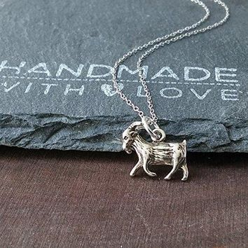 """Sterling Silver Goat Charm Pendant Necklace, 18"""""""
