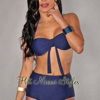 Navy-Blue Faux Tie Front High-Waist Bikini