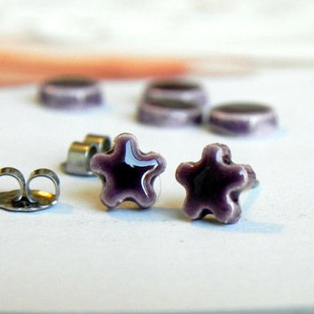 Tiny Purple Stud Earrings Eggplant Ceramic Flowers Pottery Jewelry Surgical Steel Posts