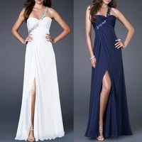 White/Navy Blue Wedding dress Prom Evening Ball Gown Us size 2 4 6 8 10 12 14 16