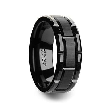 Brushed Center Finish Wrist Watch Grooved Black Tungsten Band