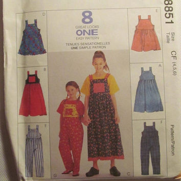 SALE Uncut McCall's Sewing pattern, 8851! 4-5-6 Girls/Toddlers/Kids/Child/Jumper Dresses/Sleeveless Dress/Button Straps/Overalls/Coveralls