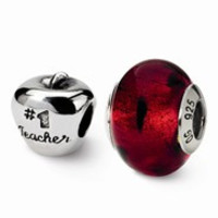 Sterling Silver Teacher Boxed Bead Set Charm