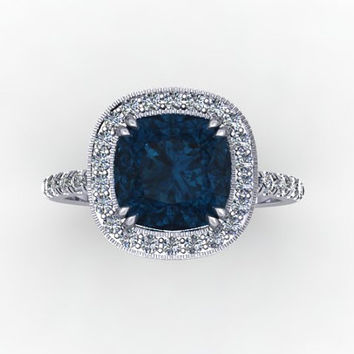 White Sapphire Engagement Ring, London Blue Topaz Engagement Ring, 14K White Gold, Right Hand Ring, Wedding Ring. RE00039
