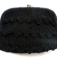 Richere Bag By Walborg Black Glass Hand Beaded Purse Vintage Evening Clutch