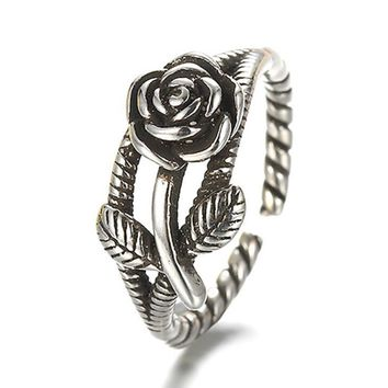 Vintage 925 sterling-silver-jewelry Rose Rope Line Shape Opening Thai Silver Old Silver Rings Jewelry Women anel 16mm S-R06