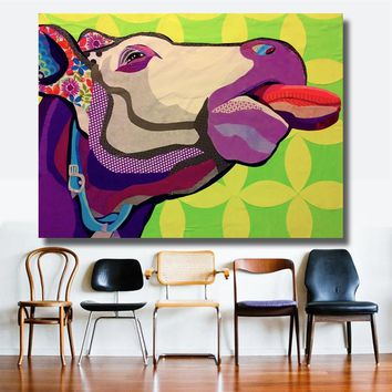 HDARTISAN Wall Printed Cow  Head Animal Oil Painting Canvas Prints Wall Art Pictures for Bedroom industrial loft living room  ho