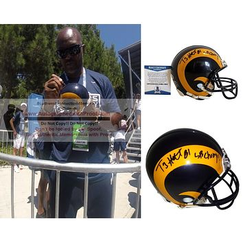 Torry Holt Autographed St Louis Rams Throwback Mini Football Helmet with SB Champs Inscription, Proof Photo, Beckett S38129