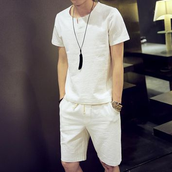 New summer 2016 men's fashion linen sets Comfortable, summer breathable linen men sets