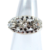 Outstanding Art Déco three-stone 0.48ctw diamond ring, 18K solid gold stamped French jewelry