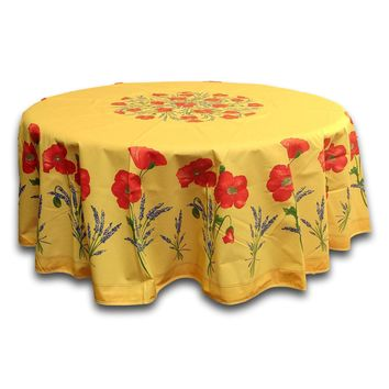 French Provencal Round Tablecloth Acrylic Coated Cotton Poppy Yellow 71 inches
