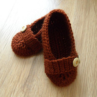 wool baby booties, baby slippers, baby shoes, baby accessories, baby boy, flats, baby, brown botties
