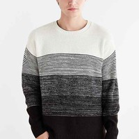 Gradient Stripe Boxy Crew Neck Sweater- Cream