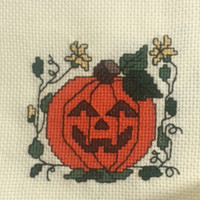 Vintage Finished Cross Stitch Sampler Fall Halloween Pumpkin Quilt Block Completed