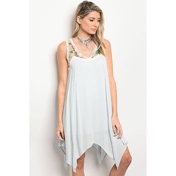 Ladies fashion plus size sleeveless skater dress that features a floral embroidered lace neckline