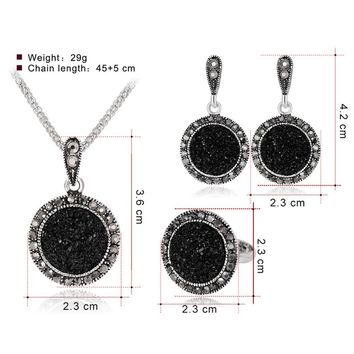 """V.YA"" New Women Necklace Earring Ring Set Metal Jewelry Bib Pendant Chain Necklace Set"