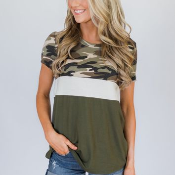Hideaway Camo Colorblock Top