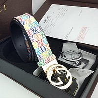 GUCCI new men's and women's color printed letter high-end belt