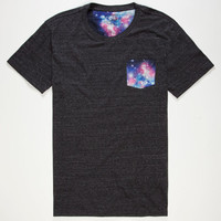 Blue Crown Cosmic Contrast Mens Pocket Tee Charcoal  In Sizes