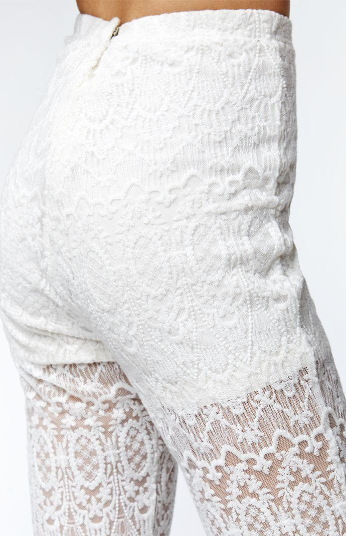 ea8accbf559a73 Kendall & Kylie High Rise Lace Bell Bottom Pants - Womens Pants - White