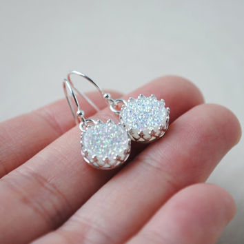 Druzy Earrings, White Druzy Earrings, Sterling Silver Druzy Earrings, Round Druzy Earrings