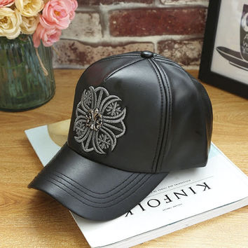 Black Leather Baseball embroidered cap Hat