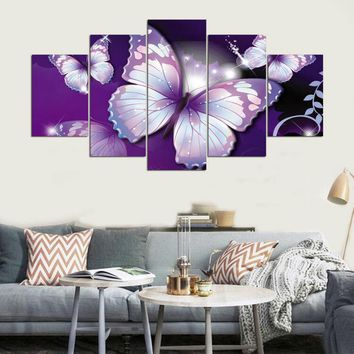 Hd Printed Modular Picture Large Canvas Painting For Bedroom Living Room Home Wall Art Decor 5 Panel Purple Butterflies PENGDA