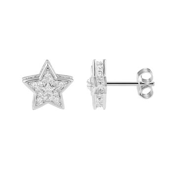 Fully Iced Out 3D Star Earrings Lab Diamonds Sterling Silver 14k White Gold Finish